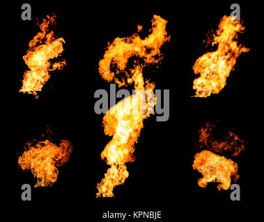 Collection of gas flare spurts of fire raging flame - Stock Photo