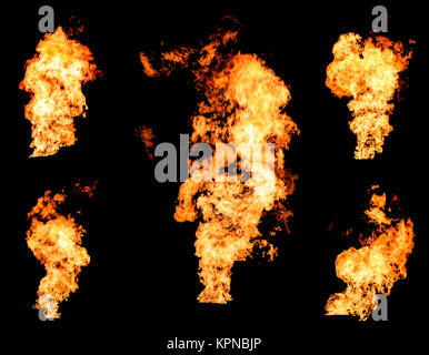 Blazing fire raging flame of burning gas or oil collection - Stock Photo