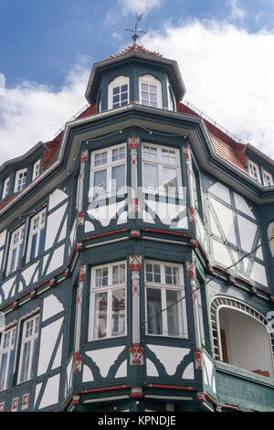 Front of an wonderful old half-timbered house in a village in Fritzlar, in Germany near Kassel in Hesse - Stock Photo