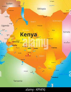 color map of Kenya country - Stock Photo