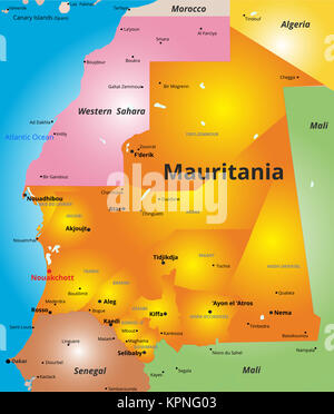 color map of Mauritania country - Stock Photo