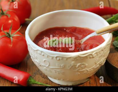 Freshly prepared sauce in bowl - Stock Photo