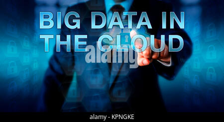 Enterprise Manager Pressing BIG DATA IN THE CLOUD - Stock Photo