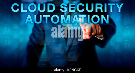 Manager Pushing CLOUD SECURITY AUTOMATION - Stock Photo