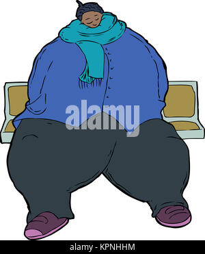 Cartoon caricature of obese woman - Stock Photo