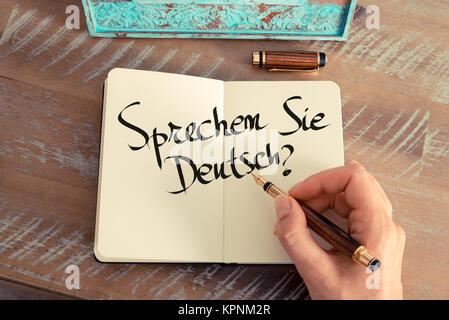 Handwritten text &quot Sprechen Sie Deutsch?&quot  in German - translation - Stock Photo