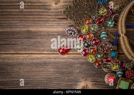 Colorful stones necklaces - Stock Photo