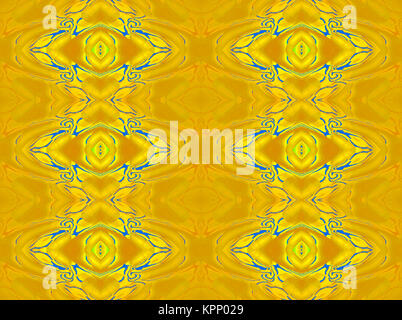 Abstract geometric seamless vintage background. Scrolled diamond pattern in bright yellow and orange shades with - Stock Photo