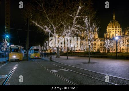 Tram station near Hungarian parliament  Budapest - Stock Photo
