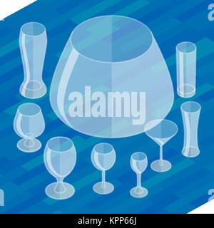 Glassware isometric flat icons set. - Stock Photo