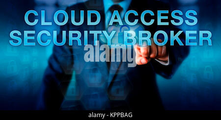 Manager Pushing CLOUD ACCESS SECURITY BROKER - Stock Photo