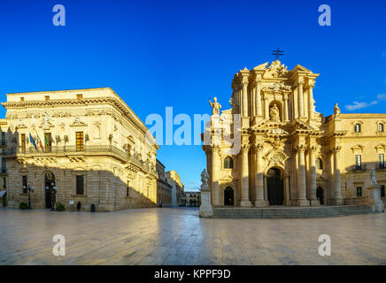 The Cathedral of Syracuse (Duomo di Siracusa). The famous church in Syracuse Sicily Italy. - Stock Photo