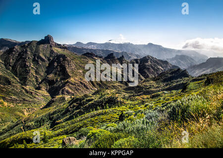 Panoramic view from  Pico de las Nieves on Gran Canaria , Spain. - Stock Photo