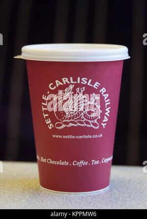 Settle and Carlisle Railway Branded Hot Drinks Tea Coffee Hot Chocolate Cup served on a Northern Rail service train - Stock Photo
