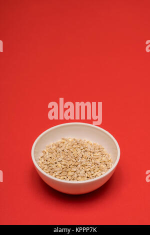 pearl barley a bowl on a colored background - Stock Photo