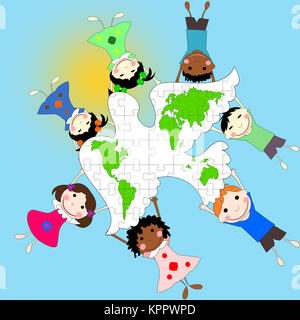 Children of different races with a dove and a map of the world, the concept of peace, illustration - Stock Photo