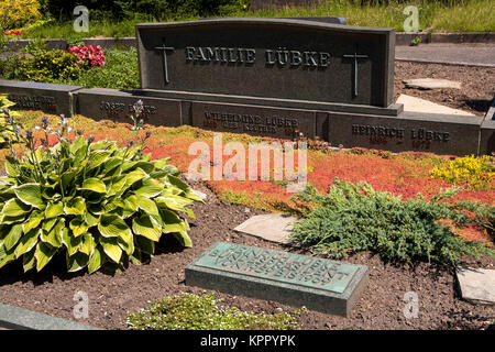 Germany, Sauerland region, the grave of Heinrich Luebke in the district Enkhausen, Heinrich Luebke was Federal President - Stock Photo