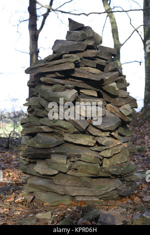 Germany, small stone pyramid in a forest at the Ruhrhoehenweg in the Ardey mountains near Herdecke.  Deutschland, - Stock Photo