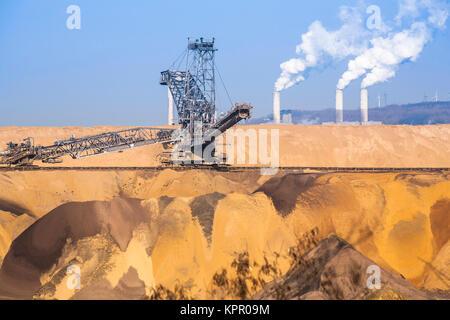 Germany, brown coal opencast mining Garzweiler near Juechen, in the background the power plant Frimmersdorf.  Deutschland, - Stock Photo