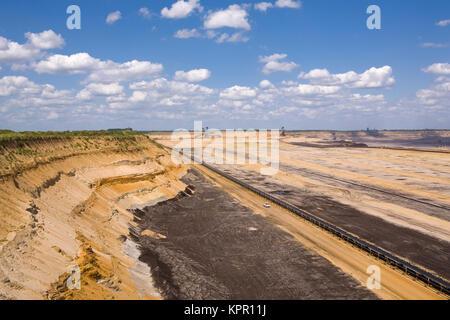 Europe, Germany, brown coal opencast mining Grazweiler near Juechen.  Europa, Deutschland, Braunkohletagebau Garzweiler - Stock Photo