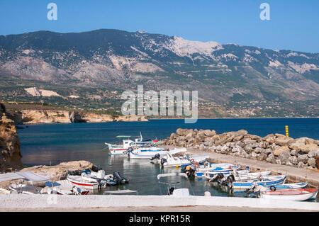 boats at the harbor of pessada on kefalonia island - Stock Photo