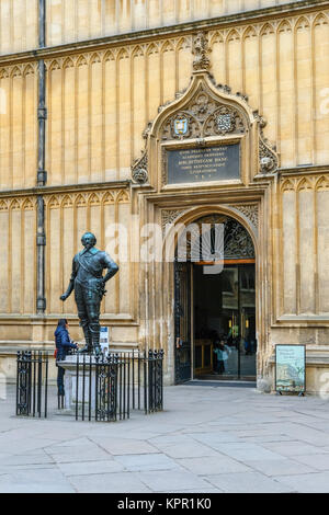Divinity School Entrance in the Quadrangle of The Bodleian Library, the main Research Library of Oxford University, - Stock Photo
