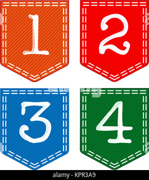 Four Fabric Numbers, 1, 2, 3, 4 - Stock Photo