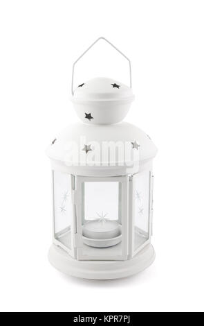 White decorative lantern isolated on white with clipping path - Stock Photo
