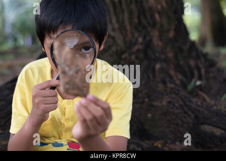 young asian boy observing a leaf using magnifying glass - Stock Photo