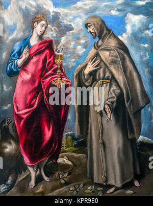 St John the Evangelist and St Francis by El Greco (Domenikos Theotokopoulos, 1541-1614), oil on canvas, c.1600. - Stock Photo