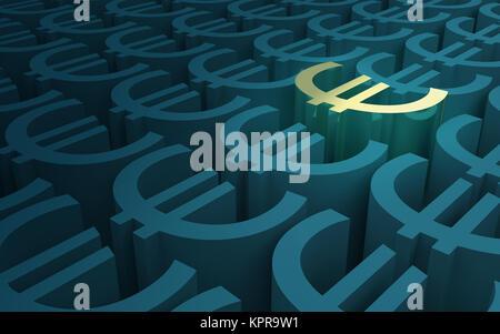 Elevated Euro Symbols pattern - Stock Photo