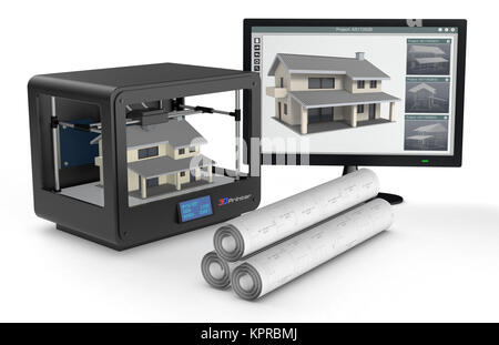 3d printer and house building, concept - Stock Photo