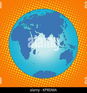 Earth Eurasia Africa Australia Antarctica Asia Europe - Stock Photo