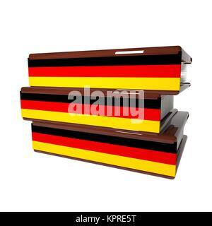 German books isolated over white - Stock Photo