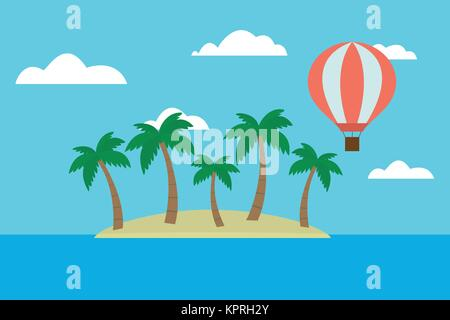 Cartoon vector illustration of tropical island with palm trees and hot air balloon flying between clouds on blue - Stock Photo