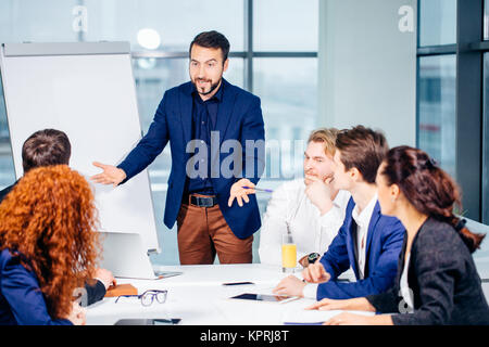 boss leader coaching in office. On job training. Business and Education concept - Stock Photo