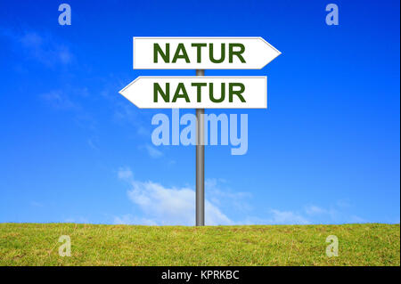 sign signpost showing nature - Stock Photo