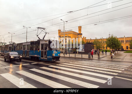 Tram outside Wroclaw glowny the recently refurbished  main railway station of the Polish city of Wroclaw Poland - Stock Photo