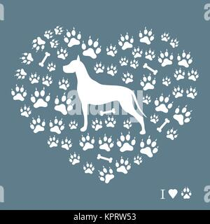 Nice picture of great dane silhouette on a background of dog tracks and bones in the form of heart on a colored - Stock Photo