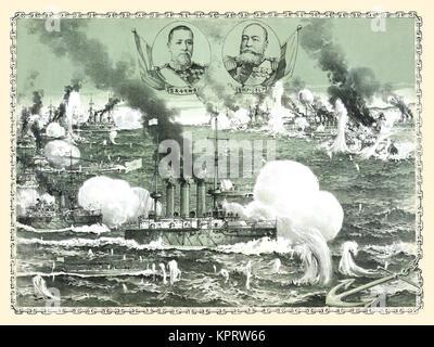 The destruction of Russian fleet of war vessels - Stock Photo