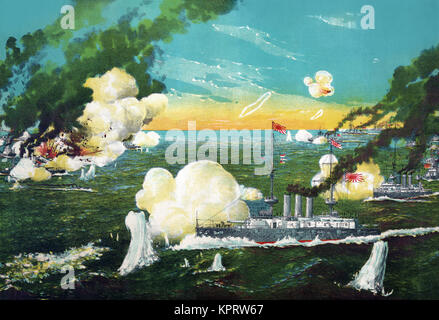 View of the instant sinking of the ships in the great sea battle at Lüshun Bay. - Stock Photo