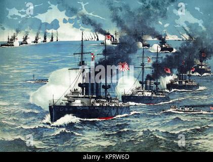 True report of the great sea battle at Lüshun Bay #1 - Stock Photo