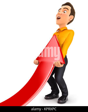 3d man lifting up red arrow, illustration with isolated white background - Stock Photo