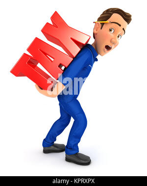 3d mechanic heavy tax, illustration with isolated white background - Stock Photo