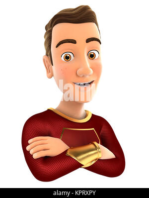 3d red hero with arms crossed, illustration with isolated white background - Stock Photo