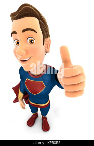 3d superhero positive pose with thumb up, illustration with isolated white background - Stock Photo