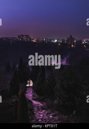 Chisinau, capital of Moldova, view from above at night from a park.