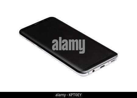 Black new smart phone isolated on white background mockup. - Stock Photo
