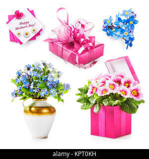 Mothers day gift collection. Pink gift box, flowers, greeting card isolated on white background. Holiday present - Stock Photo