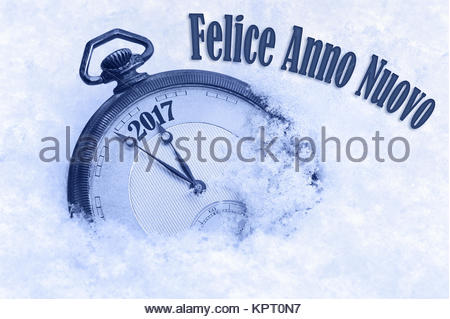 New Year 2017 greeting in Italian language, Felice Anno Nuovo text, 2017 greeting, happy new year - Stock Photo